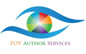 Logo for POV Author Services, a stylized eye shape with a multi-colored pupil