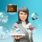 picture of a woman holding a tablet with bubbles of software types floating around her head.
