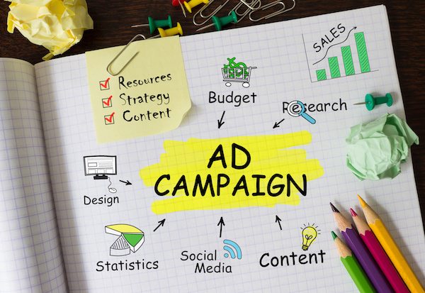 paper with ad criteria written on it, including: budget, content, resources, research, images, goals