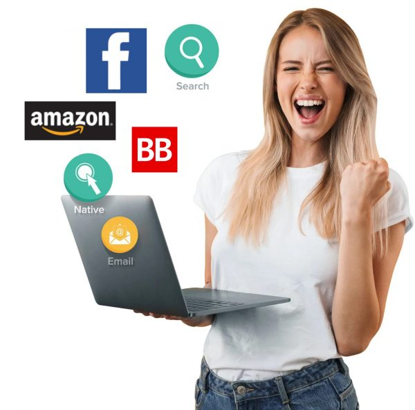 woman pumping her fist after viewing her Facebook, Amazon, and BookBub ad performance