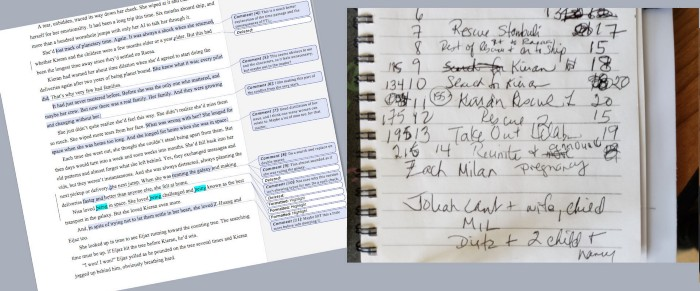 Photo by Maggie Lynch. First chapter edits on left with notebook of chapter planning on right.