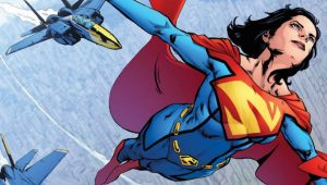 superwoman flying with jets trailing behind her from DC Comics