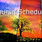 colorful seasons depicted in the background with Course Schedule written on top