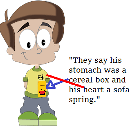 "cartoon boy with words: ""They say his stomach was a cereal box and his heart a sofa spring."""
