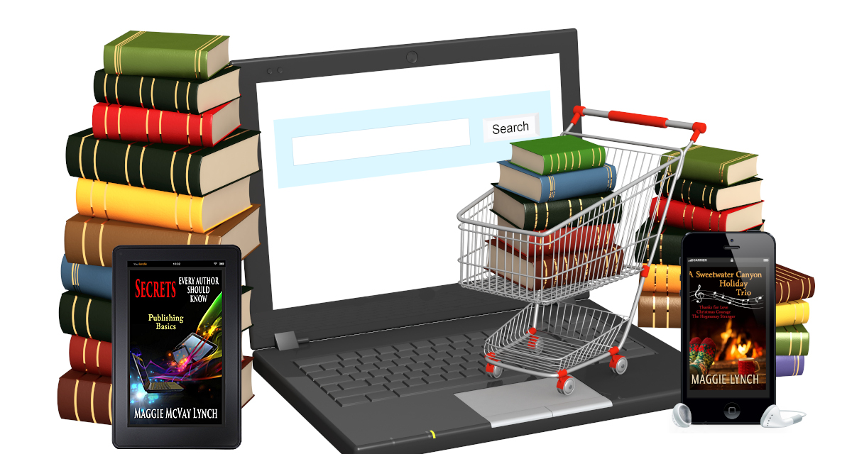 Picture of a laptop with a search window. Print books around the outside, and an ebook and audiobook in the foreground