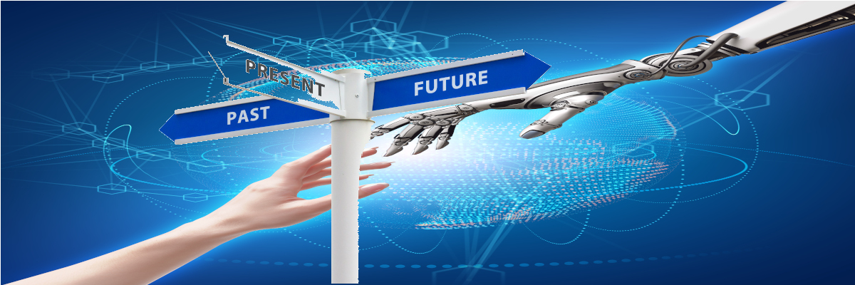 Female human and robot's hands as a symbol of connection between people and artificial intelligence technology. Superimposed is a sign with past, present, and future directions with the present one fading into the background